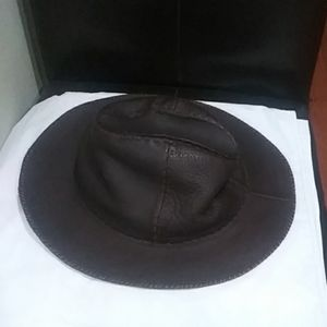 Fendi dark chocolate leather hat